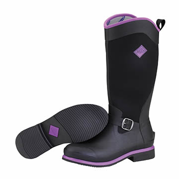 Muck Boot Reign Tall Black And Purple Wellingtons